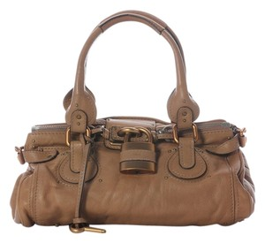 Chloé Rose Gold Light Brown Leather Satchel