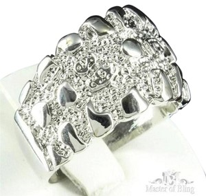 Other Mens Ring White Gold Finish Unique Customized Simulated Diamond Band Discount