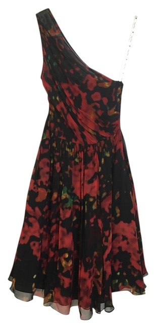 Tracy Reese Red Multi Knee Length Cocktail Dress Size 0 (XS) Tracy Reese Red Multi Knee Length Cocktail Dress Size 0 (XS) Image 1