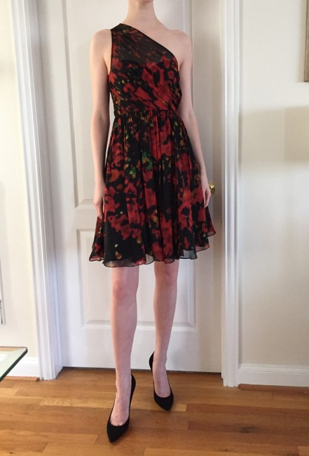 Tracy Reese Red Multi Knee Length Cocktail Dress Size 0 (XS) Tracy Reese Red Multi Knee Length Cocktail Dress Size 0 (XS) Image 2