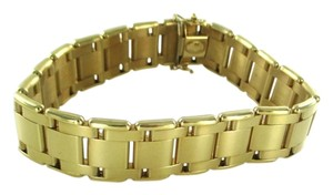 mi 14KT YELLOW GOLD BRACELET LADDER FLAT LINK MI MADE IN ITALY DESIGNER NO SCRAP
