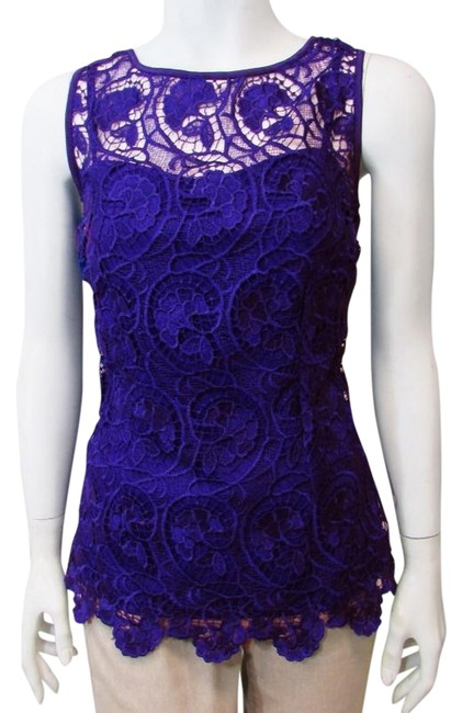 Item - Royal Purple Sleeveless Lace Blouse Built In Cami Tee Shirt Size 4 (S)