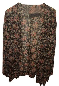 Free People Top Black with Blush and Tan Floral