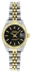 Rolex Rolex Women's Datejust Two-tone Black Stick Watch 6917