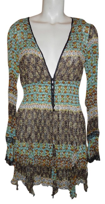 Item - Green & Brown Multi Color Print Tunic Size 12 (L)