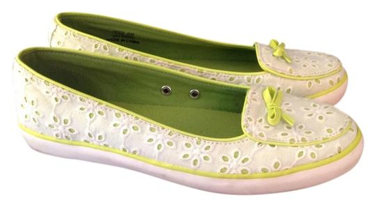 Sperry Lace White & Green Flats