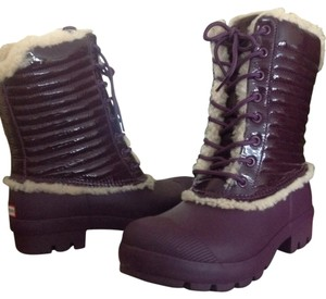 Hunter Shearling Snow Rain Leather Plum Boots