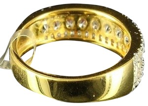 Other Golden Solid Silver Lab Diamond Women Eternity Engagement Cocktail Ring Band