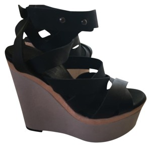 Topshop Leather Nude Strappy BLACK Wedges