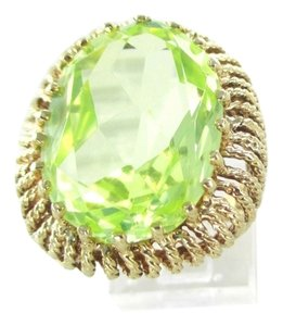 14KT YELLOW GOLD COCKTAIL RING PERIDOT SIZE 6.5 WEDDING BAND ENGAGEMENT NO SCRAP