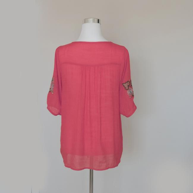 Other Blouse tunic top with floral embroidered design and button front