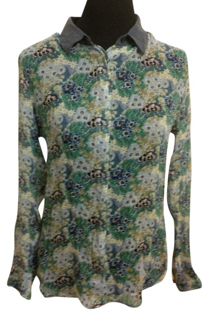Equipment Femme Silk Floral Top Green