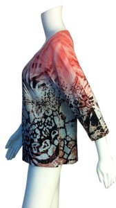 Chico's New Pullover Casual T Shirt Coral, Brown, White, Animal Print