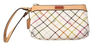 Coach Leather Coated Canvas Pockets Wristlet in Multicolor