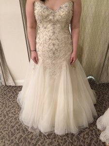 Maggie Sottero Light Gold with Pewter Accents Tulle Sasha Sexy Wedding Dress Size 20 (Plus 1x)