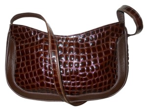 Due Fratelli Leather Croc Shoulder Bag