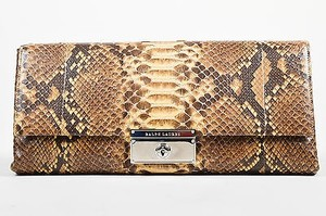 Ralph Lauren Cream Snakeskin Flap Brown Clutch