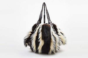 Gucci Brown White Fitch Fur Hobo Bag
