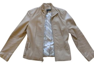Kenneth Cole Leather Beige Leather Jacket