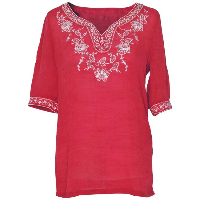 Preload https://item1.tradesy.com/images/red-embroidered-blouse-with-floral-and-stars-design-collar-tunic-size-8-m-123960-0-0.jpg?width=400&height=650