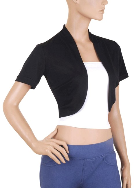 Black Short Sleeve Bolero Shrug W/ Tube Top. 2 Separate Pieces Cardigan Size 22 (Plus 2x) Black Short Sleeve Bolero Shrug W/ Tube Top. 2 Separate Pieces Cardigan Size 22 (Plus 2x) Image 1