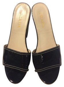 Prada Cork Patent Black Platforms