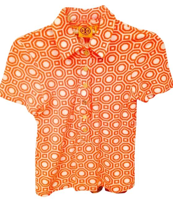 Preload https://item1.tradesy.com/images/tory-burch-orangewhite-terry-cloth-printed-short-sleeve-blouse-size-2-xs-1239745-0-0.jpg?width=400&height=650
