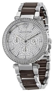 Michael Kors Crystal Pave Dial Silver tone and Smoky Acetate Bracelet Designer Luxury Ladies Watch