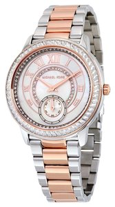Michael Kors Crystal Pave Dial Rose Gold and Silver Designer Luxury Watch