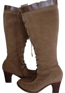 Frye Lace Up Suede Leather Boot Tan Boots