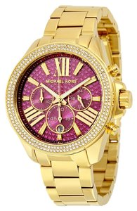 Michael Kors Pink Crystal Pave Dial Gold tone Stainless Steel Designer Ladies Watch
