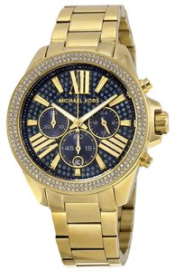 Michael Kors Blue Crystal Pave Dial Gold tone Stainless Steel Designer Luxury Watch