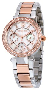Michael Kors Crystal Pave Bezel Silver and Rose Gold Stainless Steel Designer Dress Watch