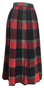 Diane von Furstenberg Dvf Vintage Pleated Wool Skirt red