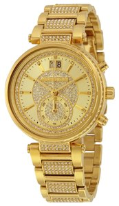 Michael Kors Luxury Crystal Pave Allover Encrusted Gold tone Designer Dress Watch