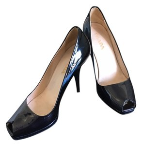 Prada Peep Patent Leather Black with dark navy irredescent toe Pumps