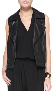 Eileen Fisher Soft Lamb Skin Asymmetrical Brass Color Zipper Chic And Sexy Vest