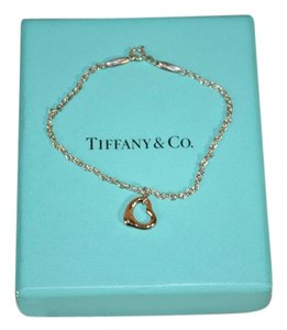 Tiffany & Co. Authentic Tiffany & Co. Silver Elsa Peretti Chain Gold Open Heart Bracelet