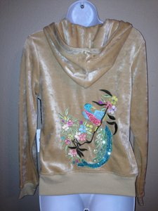 BCBGMAXAZRIA BCBGMaxAzria Velour Embroidered Peacock Hooded Jacket XL