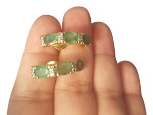 Burmese authentic emerald& diamond in gold Burmese authentic emerald earrings