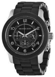 Michael Kors Black Rubber Silicone Stainless Steel Designer Unisex Watch