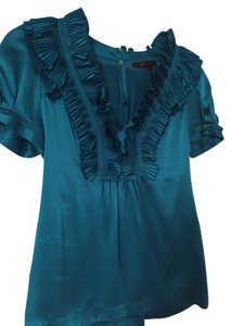 BCBGMAXAZRIA Ruffles Top Teal silk blouse