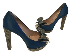 Vince Camuto Covered With Rhinestones Blue & Silver Platforms