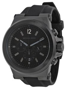 Michael Kors Black Dial Rubber Bracelet Strap Designer Sport Mens Watch