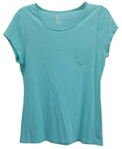 Gap Striped T Shirt Mint Green and White
