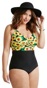 Forever 21 Forever 21 Plus Size Black Yellow Boho Sunflower Cutout One Piece Swimsuit 2x