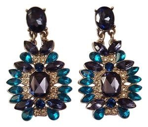 Silver Plated Blue Glass Earrings