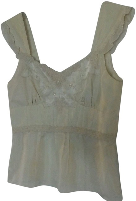 Nanette Lepore Silk Charmeuse Made In Usa Embroidered Romantic Sexy Boho French Lace Satin Silk Hipster Clubkid Feminine Top is ivory.