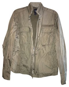 Gap Snap Flap Over Zpr Pet-free+smoke-free Interior Chest Pkt Velcro At Neck Cinch At Waist army green Jacket