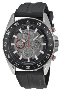 Michael Kors Black Silicone Strap Casual Sport Mens Designer Watch